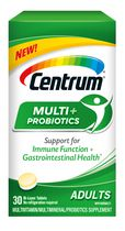 Centrum Multi + Probiotics Adult Multivitamin/Multimineral Supplement and Probiotics in One Bi-Layer Tablet, Helps Support Immune Function and Gastrointestinal Health, 30 count