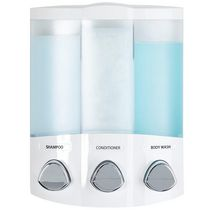 Trio Dispenser White, Translucent Container with Chrome Buttons
