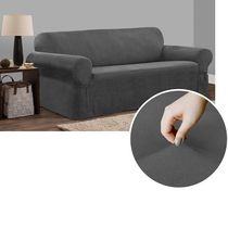 SmartFit 1-Piece Soft Touch Stretch Sofa Furniture Cover, Charcoal