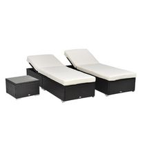 Outsunny 3pcs Rattan Chaise Lounge Set with Side Table