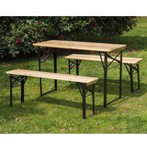 Outsunny Ensemble de table et banc de pique-nique portatif  3 pièces