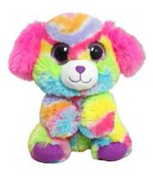 "Kids 0-9 9"" Colorful Big Eye Rainbow Puppy Plush Toy"