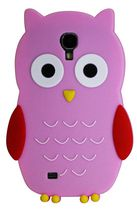 Exian Silicon Case for Samsung Galaxy S4, Owl Design - Pink