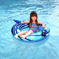 Blue Wave Blaster Ring 42-inch Inflatable Pool Toy with Squirter