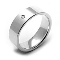Rex Rings Sterling Silver Mens' Diamond Ring with High Gloss Finish 8.5