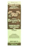 Brum's 1% M.F Chocolate, Partly Skimmed Milk.