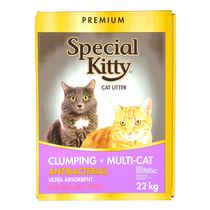 Premium Special Kitty Clumping Multi-Cat Antibacterial Unscented Cat Litter 22 kg