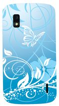Exian TPU Case for Nexus 4 - Butterfly and Flowers, Blue