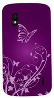 Exian Case For LG Nexus  4, Butterflies and Flowers - Purple