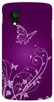 Exian Case for Nexus 5, Butterfly and flowers -Purple