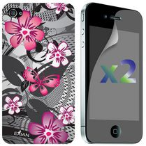 Exian Screen Guards x2 and TPU Case for iPhone 4/4s - Floral Pattern Black and Pink