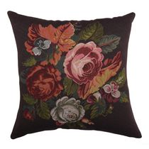 """Caricia Home Fashions Faux Embroidered Floral Square Faux Cotton Throw Pillow, 17"""" x 17"""", Brown / Green / Pink"""