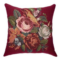 """Caricia Home Fashions Faux Embroidered Floral Square Faux Cotton Throw Pillow, 17"""" x 17"""", Barnyard Red / Green / Pink"""