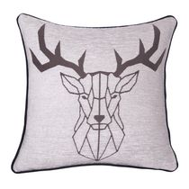 """Caricia Home Fashions Reindeer Geometric Cotton Chenille Square Throw Pillow, 17"""" x 17"""", Ivory / Grey"""