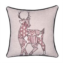 """Caricia Home Fashions Patchwork Reindeer Chenille Blend Square Throw Pillow, 17"""" x 17"""", Ivory / Blush Pink / Black"""