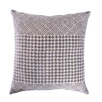 """Caricia Home Fashions Houndstooth Geometric Plush Square Throw Pillow, 17"""" x 17"""", Grey / Ivory"""