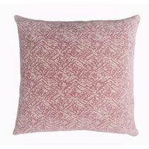 "Caricia Home Fashions Square Geometric Labyrinth Plush Square Throw Pillow, 17"" x 17"", Blush Pink / Ivory"