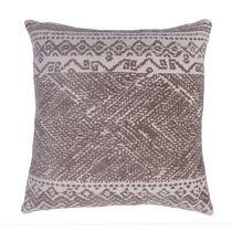 "Caricia Home Fashions Plush Moroccan Tribal Geometric Square Throw Pillow, 17"" x 17"", Brown / Ivory"