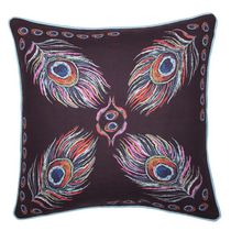 """Caricia Home Fashions Peacock Faux Cotton Square Throw Pillow, 17"""" x 17"""", Purple / Blue / Pink"""