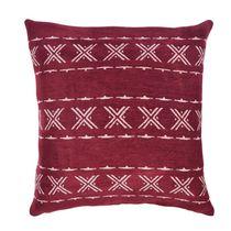 "Caricia Home Fashions Aztec Geometric Square Throw Pillow, 17"" x 17"", Barnyard Red / Blush Pink"