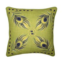 Caricia Home Fashions Peacock Print Faux Cotton Square Throw Pillow, 17 x 17, Chartreuse Green / Black
