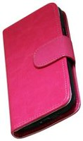 Exian Leather Wallet Case for Samsung Galaxy S4 Mini - Hot Pink