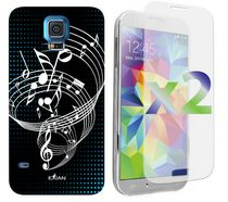 Exian Case for Samsung Galaxy S5, Musical Notes - White&Black