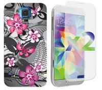 Exian Case for Samsung Galaxy S5, Floral Pattern - Black & Pink