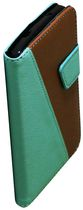 Exian Leather Wallet Case For LG Nexus  5 - Green & Brown