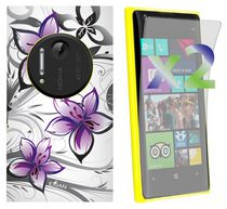 Exian Case for Lumia 1020, Floral Pattern - White & Purple