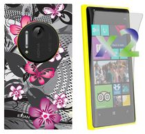 Exian Case for Lumia 1020, Floral Pattern - Black & Pink