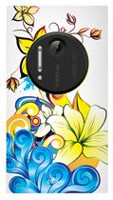 Exian TPU Case for Nokia Lumia 1020 - Flowers Blue and Yellow Canadian Cancer Society