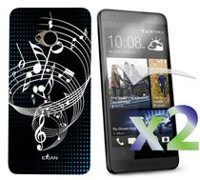 Exian Case for HTC One, Musical Notes - Black