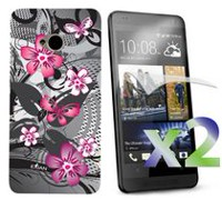 Exian Case for HTC One, Floral Pattern - Black & Pink