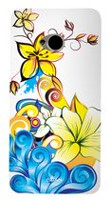 Exian Case for HTC One, Floral Pattern - Yellow, Blue & White