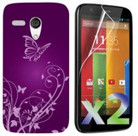 Exian Screen Guards x2 and TPU Case for Motorola Moto G - Flowers and Butterfly Purple