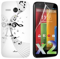 Exian Screen Guards x2 and TPU Case - Motorola Moto G - Musical Notes on Staff