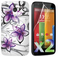 Exian Case for Moto G, Floral Pattern - White & Purple