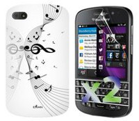 Exian Case for Blackberry Q10, Musical Notes - White