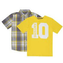 George Boys' Two-Piece Set: Poplin Shirt with Crew Neck Tee Yellow XL