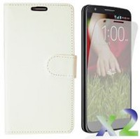 Exian Case for LG G3 - PU Leather Wallet with Card Slots White