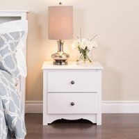 Prepac Monterey White 2-Drawer Nightstand