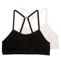 Girls' 2 Pack Seamless Bralette Black/White Black/White