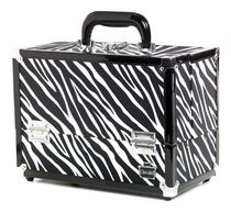 Caboodles 11.25 Inches Zebra Print Cosmetic Train Case With Mirror - 2 Tray