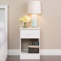 Prepac Astrid White Tall 1-Drawer Nighstand