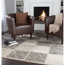Home Trends Area Rug 5 Ft. X 8 Ft. Taupe Zebra Boxes