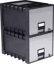 Storex Archive Storage Box, Letter/Legal, 18-Inch Depth, Black/Grey, With Lock
