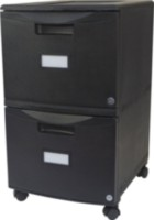 Double Drawer Mobile Filing cabinet, with lock and Casters, All Black