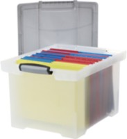 Storex Letter/Legal File Tote With Locking Handle, Clear/Silver