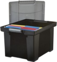 Storex Portable File Tote With Locking Handle, Letter/Legal Size, Black
